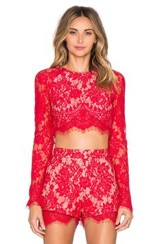 THE JETSET DIARIES Piazza Crop Top in Ruby