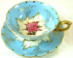 Royal Sealy China vintage TEA CUP & SAUCER Japan blue ornate orchid floral gold