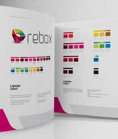 Great looking brand guide - REBOX Identity by PAOLA FLORES, via Behance