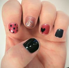 Wanted some cute fall nails. Pink and black polka dots with heart. #nailart #pink #black #hearts #polkadots #nails