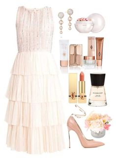 """""""Untitled #415"""" by ngkhhuynstyle ❤ liked on Polyvore featuring Salsa, Casadei, Tacori, Guerlain, Burberry and Yves Saint Laurent"""