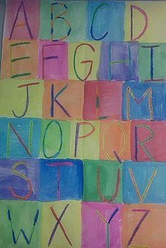 Jasper Johns-inspired pop art alphabets, using crayon resist and watercolors