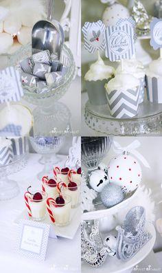 Un buffet de Noël en gris et blanc