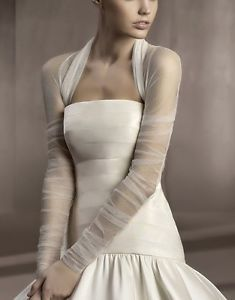 See Through Tulle Long Sleeve Stole Wedding Boleros Bridal Jacket Accessory