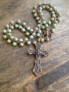 Rustic Bronze Cross Turquoise Necklace Vintage by TwoSilverSisters