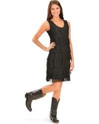 Wrangler Women's Black Crochet & Tiered Lace Dress - Sheplers