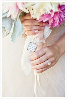 """what a beautiful bouquet charm with quote """"Mom is with you every step of the way"""". I really love it."""