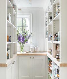 Farmhouse Pantry Cabinets, White Kitchen Cabinets, Wood Cabinets, Kitchen Pantries, Shiplap Trim, Wood Trim, Pantry Room, U Shaped Kitchen, Cottage Kitchens