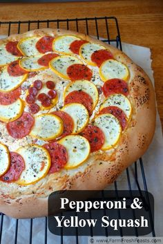 Pepperoni and Yellow Squash Pizza on an herbed goat cheese base | Farm Fresh Feasts