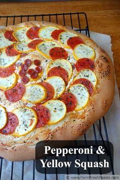Pepperoni and Yellow Squash Pizza | Farm Fresh Feasts