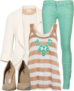 Perfect Summer outfit! #stripes #aqua #cream #blazer