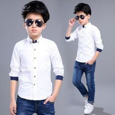 2017 Boys Shirts for Boys Years Children Long Sleeve White Cotton Shirts Boys School Clothes Kids Costume for Spring All White Outfit, White Outfits, School Outfits, Boy Outfits, Outfits Blanco, Kids Tops, Formal Shirts, Boys Shirts, White Long Sleeve