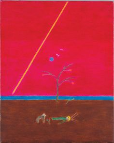 Craigie Aitchison CBE, RA, 'Saint with Dog', c. oil on canvas, 61 x cm. From Merville Galleries Contemporary Paintings, Color Splash, Oil On Canvas, Original Artwork, Backdrops, Art Pieces, Colours, Abstract, Drawings