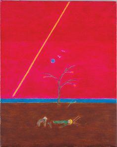 Craigie Aitchison CBE, RA, (1926-2009), 'Saint with Dog', c. 1982, oil on canvas, 61 x 50.8 cm.  From Merville Galleries