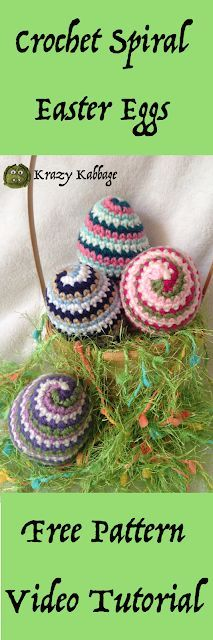 Crochet Spiral Easter Egg Free Pattern Spring Crochet Idea Easter decor