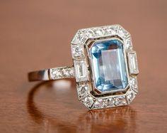Lugano Ring Aquamarine and Diamond Engagement Ring. Sold by Estate Diamond Jewelry. Platinum Engagement Rings, Vintage Engagement Rings, Long Engagement, Aquamarine Jewelry, Diamond Jewelry, Antique Aquamarine Ring, Halo Diamond, Diamond Cuts, Antique Jewelry