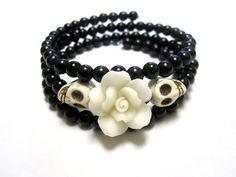 White Rose Day of the Dead Bracelet Sugar Skull by sweetie2sweetie, $12.99