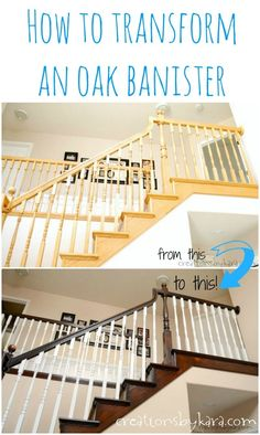 Update your oak banisters with paint and stain. -- Use Rust-Oleum to paint outdated brass faucets and fixtures! -- 27 Easy Remodeling Projects That Will Completely Transform Your Home (how to update oak stairs) Oak Banister, Banisters, Railings, Painted Banister, Oak Stairs, Painted Staircases, Home Improvement Projects, Home Projects, Spring Projects