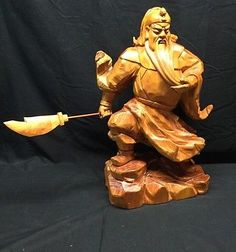 Chinese Guan Gong Carved Wood Statue 20 Inches
