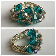 Swarovski Crystal Beaded Emerald Ring - Yuki's Rings