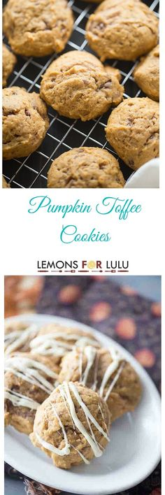 Perfect and soft pumpkin cookies with loads of toffee bits and topped with just a drizzle of white chocolate! lemonsforlulu.com