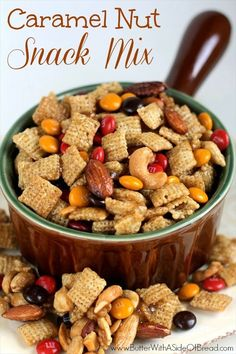 Caramel Nut Snack Mix - The perfect snack recipe for fall! This Chex Mix recipe is sweet and salty. Snack Mix Recipes, Yummy Snacks, Fall Recipes, Appetizer Recipes, Dog Food Recipes, Healthy Snacks, Cooking Recipes, Yummy Food, Appetizers