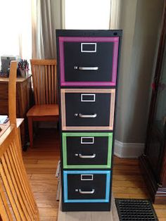 Makeover of old file cabinet. Spray paint, contact paper & Washi ...