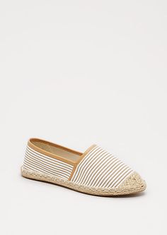 Taupe Striped Espadrille Flat by Qupid | rue21