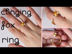 DIY Clinging Fox Ring Tutorial in Polymer Clay Fimo Ring, Polymer Clay Ring, Fimo Clay, Polymer Clay Projects, Polymer Clay Creations, Clay Crafts, Polymer Clay Kunst, Polymer Clay Animals, Clay Fox