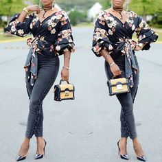 Vintage Floral Knotted Puff Sleeve Blouse
