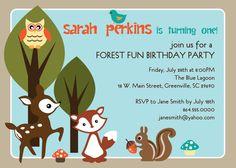 Printable Woodland Birthday Invitation, Animals Creatures Forest, Deer, Owl, Squirrel, Fox, DIY digital file