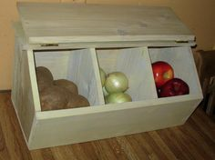 Vegetable storage bin for pantry with close-able lid. Diy Vegetable Storage, Vegetable Bin, Potato Storage, Storage Bins, Fruit Storage, Diy Projects Outdoor Furniture, Potato Bin, Diy Kitchen Lighting, Wood Pallet Signs