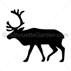 Reindeer silhouette clip art. Download free versions of the image in EPS, JPG, PDF, PNG, and SVG formats at http://silhouettegarden.com/download/reindeer-silhouette/