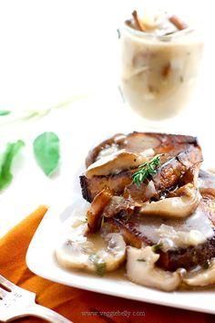 Baked Tofu Steaks with Mushroom Gravy | Veggie Belly | Vegetarian Recipe