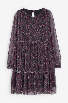 Floral Tulle Dress (3-16yrs) Daughter Love, Tulle Dress, High Tops, Girl Outfits, Bell Sleeve Top, Tunic Tops, Purple, Floral, Cotton