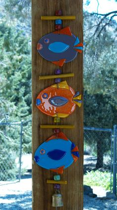 fish mobile, fused glass, bright colors. $48.00, via Etsy.