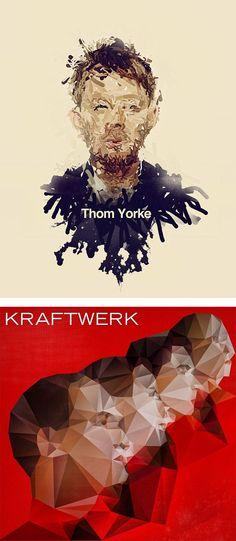 """Creative Illustrations"" by Nicola Felaco // [Thom Yorke & Kraftwerk]"