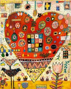Jill Mayberg Art Artwork Painting Colorful Folk Art. Just fell in love with this artist. Have to get something of hers for my new place!