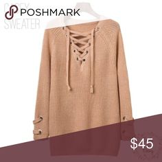 """Knit Lace Up Sweater -also comes in: burnt red, light gray, and nude -the other colors are in other listings  {how to pick the right size} after pressing """"buy now"""" a screen will pop up which will give you the option of the sizes. Chose the size you want and continue with checkout. *i am not responsible if you have purchased the wrong size, poshmark police*  -xoxo Emily&Ebony Sweaters"""