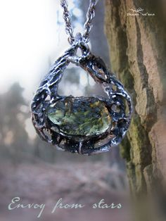 "Moldavite pendant ""Envoy from stars"", Czech moldavite, moldavite from Besednice, South Bohemia, Moldavite necklace by DianaSilvanStone on Etsy Fairy Jewelry, Elizabeth Ii, Luxury Jewelry, Mother Earth, Stone, Pendant, Diana, Silver, Jewellery"