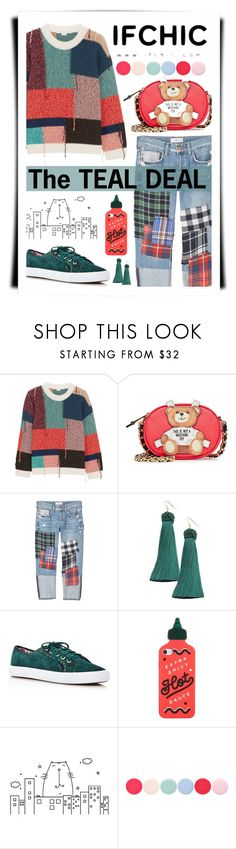 """""""The Teal Deal"""" by neverboring ❤ liked on Polyvore featuring STELLA McCARTNEY, Moschino, MANGO, Vanessa Mooney, Jack Rogers, ban.do, ADZif, Nails Inc., casualoutfit and boyfriendjeans"""