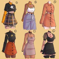 ropa Fashion Design Drawings, Fashion Sketches, Anime Outfits, Fashion Outfits, Kleidung Design, Drawing Anime Clothes, Manga Clothes, Anime Girl Drawings, Cartoon Drawings