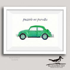 If you or someone you love gets excited when spotting a classic Volkswagen Beetle on the road, then this VW Beetle Art painting is the perfect VW lovers personalized gift idea! Its also a fun gift idea for someone who has just earned their drivers license. This original watercolor painting is my rendition of a classic 1963 Volkswagen Beetle, also known as a Type 1 VW, a Super Beetle, a VW Bug, or the kids favorite - a Punch Buggy. If you have a specific paint color in mind, please make note…