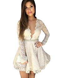 Women's V Neck Long Sleeve Lace Mini Dress – USD $ 16.99