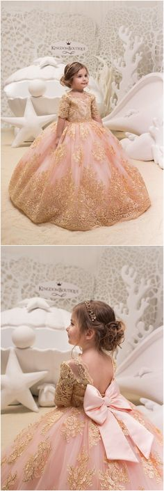 Blush Pink and Gold Flower Girl Dress - Birthday Wedding Party Holiday Bridesmaid Flower Girl Blush Pink and Gold Tulle Lace Dress 21-061 Kids Flower Girl Dresses, Tulle Flower Girl, Girls Dresses, Baby Flower, Tutu Dresses, Ball Dresses, Gold Bridesmaid Dresses, Bridesmaid Flowers, Wedding Dresses