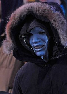 Jamie Foxx as Electro/Max Dillon on the set of the film, Amazing Spiderman 2- He's the new villain