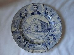 Old English Staffordshire Ware Abe Lincoln Birthplace Kentucky Collector Plate
