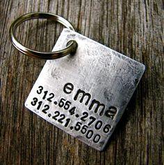Custom Dog ID / Cat ID Tag, Emma, in 1 Weathered Aluminum on Etsy, $13.00