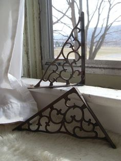 Vintage Metal Shelf Brackets Filigree Wall Brackets Beautiful Two Metal Shelf Brackets, Metal Shelves, Shelving, Iron Work, Cool Rooms, Vintage Metal, Home Renovation, Wrought Iron, My House