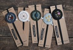 I'll Hold Your Place -  Hand Embroidered Felt Bookmark Set - All Five Bookmarks